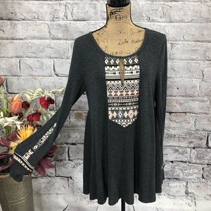 Altar'd State Embroidered Boho Gypsy Mini Dress